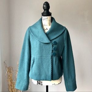 Mossimo Peacoat Cropped Blue Teal Coat L